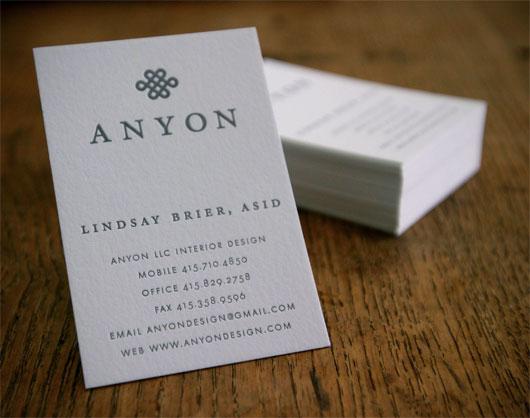 anyon interior design logo business card design dauphine - Interior Design Business Cards